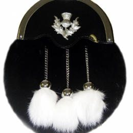 Formal black rabbit fur sporran with white fur tassels