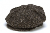 Eight Piece Tweed Cap Herringbone Brown