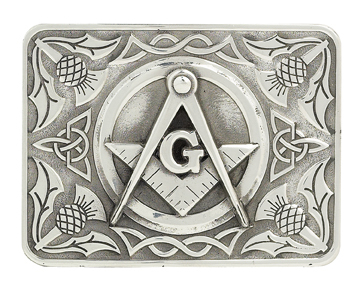 Masonic Pewter Thistle Kilt Belt Buckle