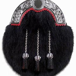 Black Muskrat Sporran with leather tassels