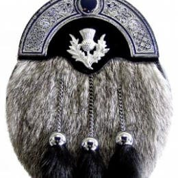 Grey Rabbit Fur Sporran Formal Higland Dress sporran with black fur tassels