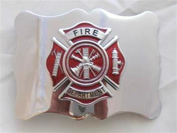 Fire Department Kilt Belt Buckle - Red on Chrome