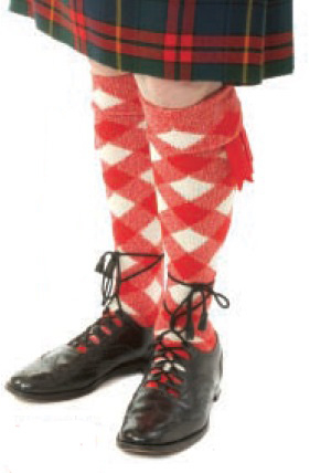 Red and White Diced Luxury Kilt Hose