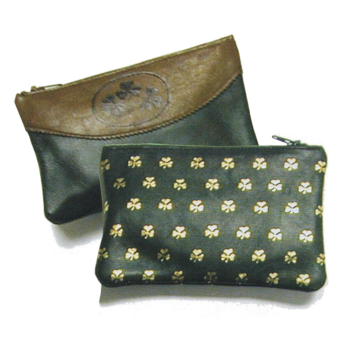 Top zip Shamrock purse green & Two Tone