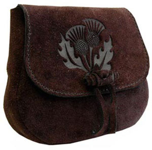 Leather Druid's Pouch - Thistle Design