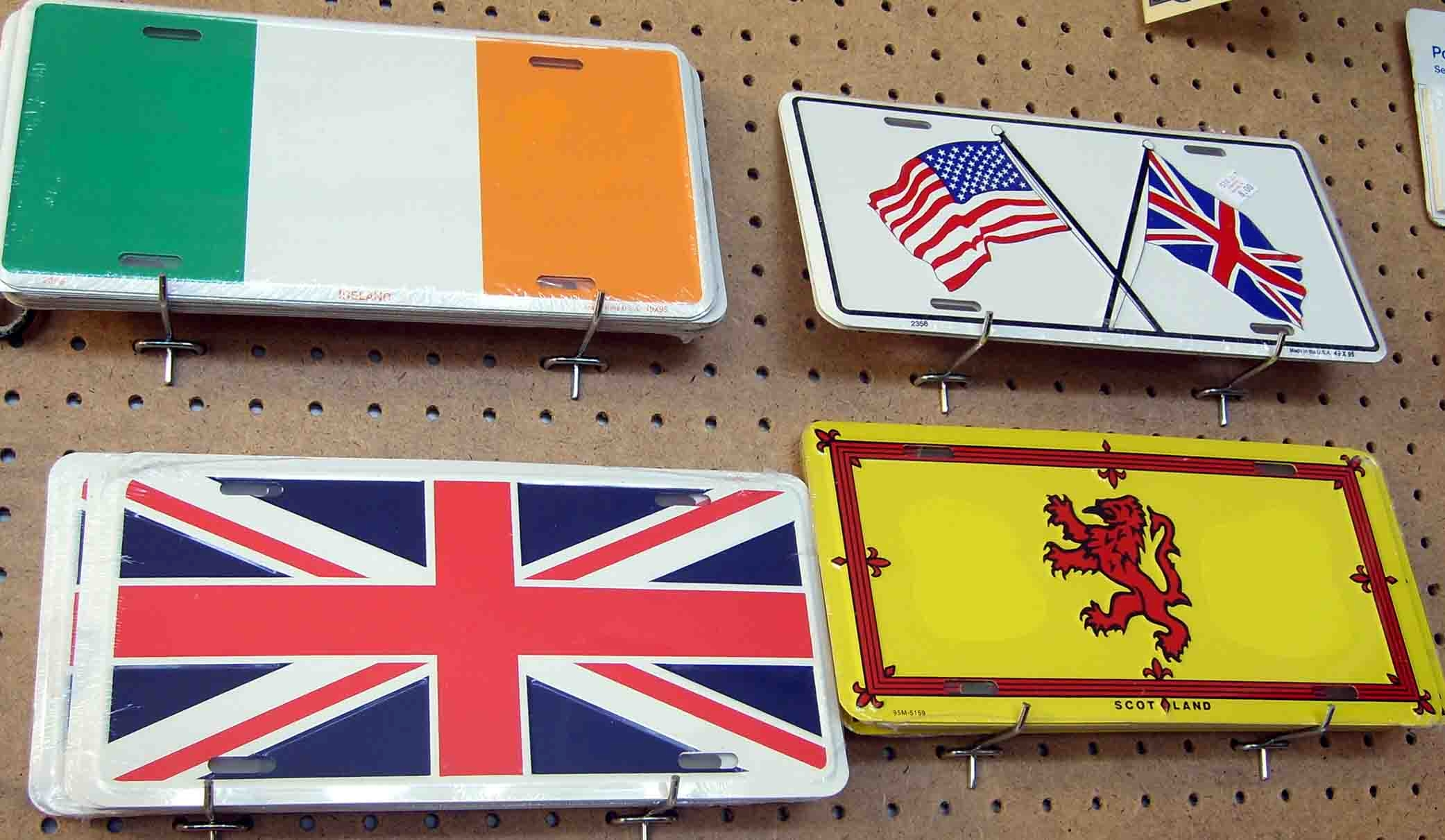 Scottish, Irish and United Kingdom flag car Lincense plates