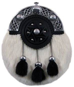Formal Dress calf skin fur sporran with black fur tassels.