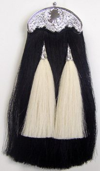 Black Horse Hair Pipe Band Sporran with White Tassels
