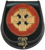 Painted Celtic Cross Leather Sporran