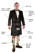 Complete Formal Prince Charlie Outfit with 13oz Kilt