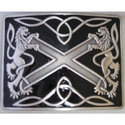 Black with Antique Silver Highland Saltire Kilt Belt Buckle