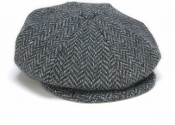 Eight Piece Tweed Cap Herringbone Blue
