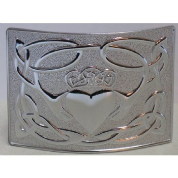Chrome Claddagh Kilt Belt Buckle