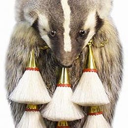 Badger Full Mask Head on fur Sporran with Brass Hardware